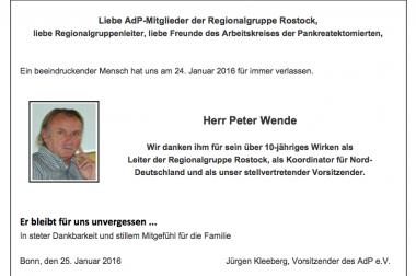25.01.2016 Nachruf Peter Wende