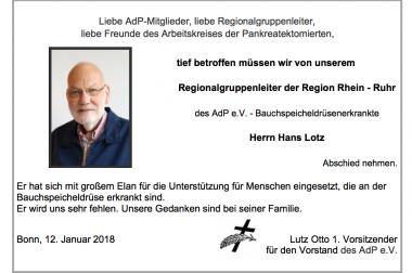 12.01.2018 Nachruf Hans Lotz